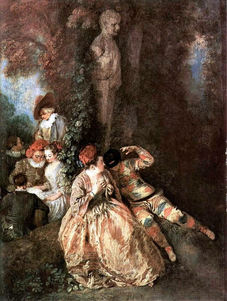 Gallant Harlequin and Colombine   Jean Antoine Watteau